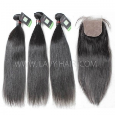 "Regular Grade mix 4 bundles with silk base closure 4*4"" Cambodian Straight Virgin Human hair extensions"