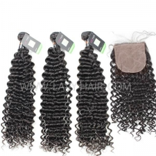 "Regular Grade mix 3 bundles with silk base closure 4*4"" Indian Deep Curly Virgin Human hair extensions"