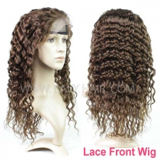 4# 100% Human hair lace front wigs 130% density deep wave