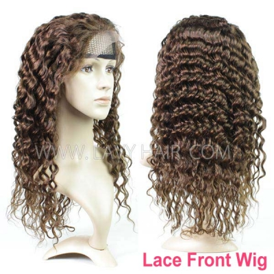 4# Lace Frontal Wigs 130% Density Deep Wave Human Hair