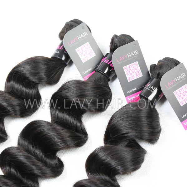 Superior Grade mix 3 bundles with lace closure Malaysian loose wave Virgin Human hair extensions