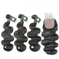 "Regular Grade mix 3 bundles with silk base closure 4*4"" Malaysian Body Wave Virgin Human hair extensions"