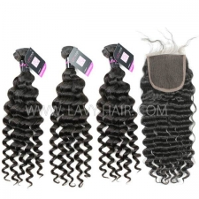 Superior Grade mix 4 bundles with lace closure Malaysian deep wave Virgin Human hair extensions