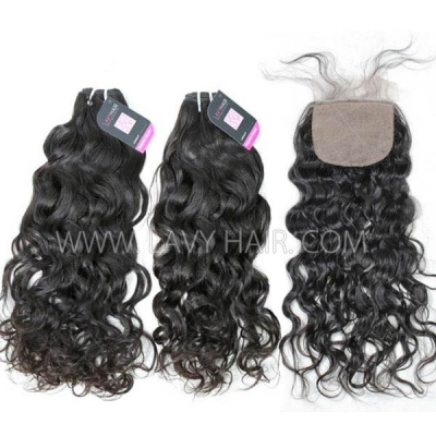 "Superior Grade mix 3 bundles with silk base closure 4*4"" Malaysian natural wave Virgin Human hair extensions"