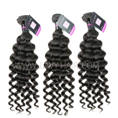 "Superior Grade mix 4 bundles with silk base closure 4*4"" Malaysian deep wave Virgin Human hair extensions"