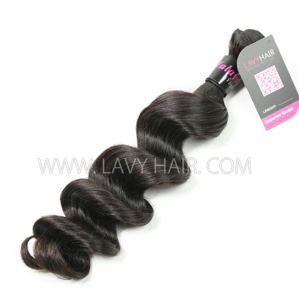 Superior Grade mix 4 bundles with lace closure Malaysian Loose Wave Virgin Human Hair Extensions