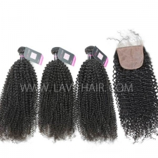 "Superior Grade mix 4 bundles with silk base closure 4*4"" Malaysian Kinky Curly Virgin Human hair extensions"