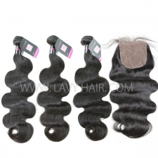"Superior Grade mix 4 bundles with silk base closure 4*4"" Malaysian Body wave Virgin Human hair extensions"