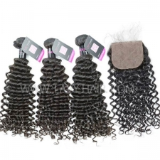 "Superior Grade mix 4 bundles with silk base closure 4*4"" Malaysian deep curly Virgin Human hair extensions"