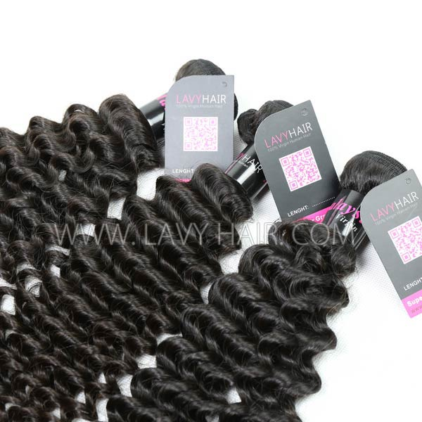 Superior Grade 1 Bundle Malaysian deep curly Hair Virgin Human Hair Extensions