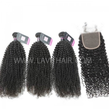 Superior Grade mix 4 bundles with lace closure Malaysian Kinky Curly Virgin Human hair extensions