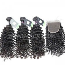 Regular Grade mix 3 bundles with lace closure Malaysian Deep Curly Virgin Human hair extensions