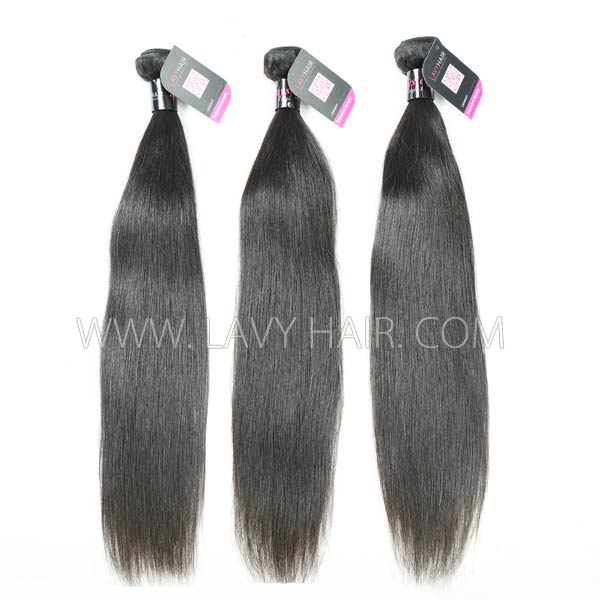 Superior Grade mix 3 bundles with lace closure Malaysian Straight Virgin Human hair extensions