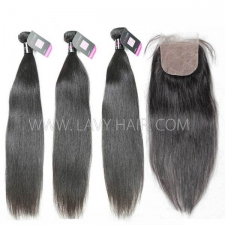 "Superior Grade mix 3 bundles with silk base closure 4*4"" Malaysian Straight Virgin Human hair extensions"