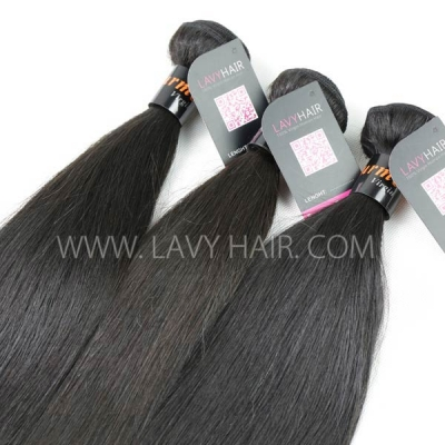 Superior Grade mix 4 bundles with lace closure Burmese Straight Virgin Human hair extensions