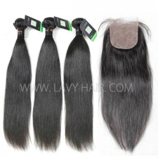 "Regular Grade mix 4 bundles with silk base closure 4*4"" Burmese Straight Virgin Human hair extensions"