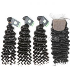 "Regular Grade mix 4 bundles with silk base closure 4*4"" Burmese Deep wave Virgin Human hair extensions"