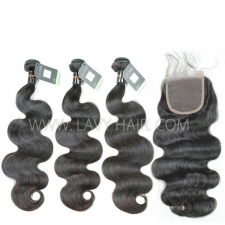 Regular Grade mix 3 bundles with lace closure Burmese Body Wave Virgin Human hair extensions