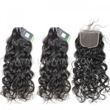 Regular Grade mix 4 bundles with lace closure Burmese Natural Wave Virgin Human hair extensions