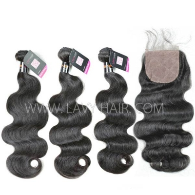 "Superior Grade mix 3 bundles with silk base closure 4*4"" Burmese Body Wave Virgin Human hair extensions"