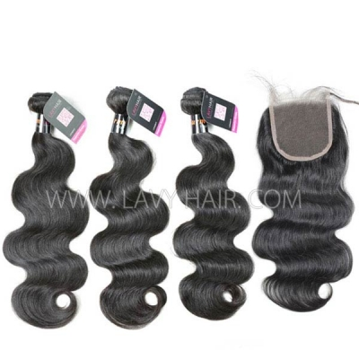 Superior Grade mix 4 bundles with lace closure Burmese Body Wave Virgin Human hair extensions