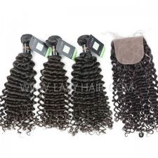 "Regular Grade mix 4 bundles with silk base closure 4*4"" Burmese Deep Curly Virgin Human hair extensions"