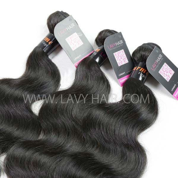 "Superior Grade mix 4 bundles with silk base closure 4*4"" Burmese Body Wave Virgin Human hair extensions"
