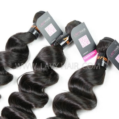 "Superior Grade mix 4 bundles with silk base closure 4*4"" Burmese loose wave Virgin Human hair extensions"