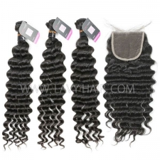 Superior Grade mix 4 bundles with lace closure Burmese Deep wave Virgin Human hair extensions