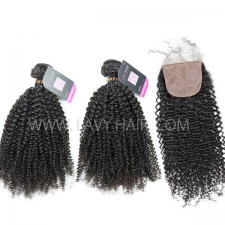 "Superior Grade mix 4 bundles with silk base closure 4*4"" Burmese Kinky Curly Virgin Human hair extensions"