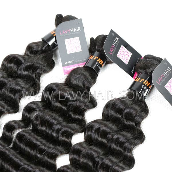 "Superior Grade mix 3 bundles with silk base closure 4*4"" Burmese Deep wave Virgin Human hair extensions"