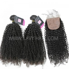 "Superior Grade mix 3 bundles with silk base closure 4*4"" European Kinky Curly Virgin Human hair extensions"