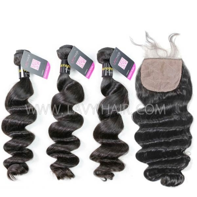 "Superior Grade mix 4 bundles with silk base closure 4*4"" European loose wave Virgin Human hair extensions"