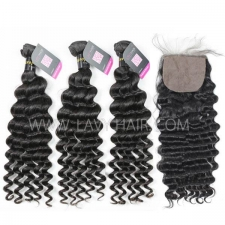 "Superior Grade mix 3 bundles with silk base closure 4*4"" European deep wave Virgin Human hair extensions"