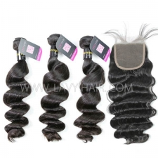 Superior Grade mix 4 bundles with lace closure European loose wave Virgin Human hair extensions
