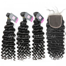 Superior Grade mix 3 bundles with lace closure European deep wave Virgin Human hair extensions