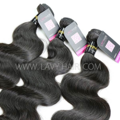 Superior Grade mix 4 bundles with lace closure European Body wave Virgin Human hair extensions