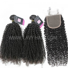 Superior Grade mix 3 bundles with lace closure European Kinky Curly Virgin Human hair extensions