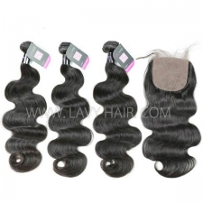 "Superior Grade mix 4 bundles with silk base closure 4*4"" Mongolian Body wave Virgin Human hair extensions"