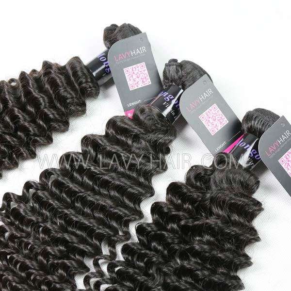 Superior Grade mix 3 bundles with lace closure Mongolian Deep Curly Virgin Human hair extensions