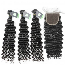 Regular Grade mix 3 bundles with lace closure European Deep wave Virgin Human hair extensions