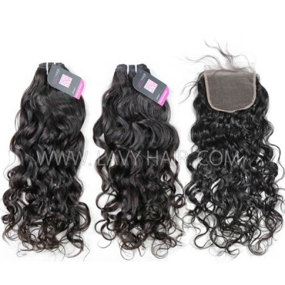 Superior Grade mix 3 bundles with lace closure European natural wave Virgin Human hair extensions