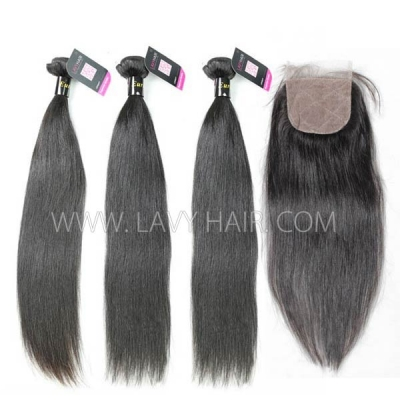 "Superior Grade mix 4 bundles with silk base closure 4*4"" European Straight Virgin Human Hair Extensions"