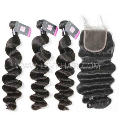 Superior Grade mix 4 bundles with lace closure Mongolian Loose Wave Virgin Human Hair Extensions