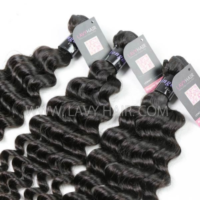 Superior Grade mix 4 bundles with lace closure Mongolian Deep wave Virgin Human hair extensions