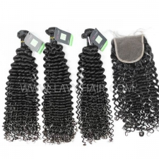 Regular Grade mix 4 bundles with lace closure European Deep Curly Virgin Human hair extensions
