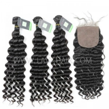 "Regular Grade mix 4 bundles with silk base closure 4*4"" European Deep wave Virgin Human hair extensions"