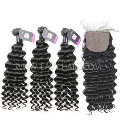 "Superior Grade mix 3 bundles with silk base closure 4*4"" Mongolian Deep wave Virgin Human hair extensions"