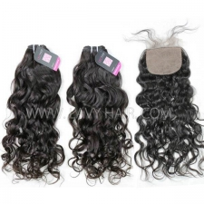 "Superior Grade mix 3 bundles with silk base closure 4*4"" European natural wave Virgin Human hair extensions"