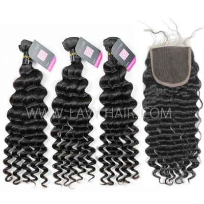 Superior Grade mix 4 bundles with lace closure European deep wave Virgin Human hair extensions